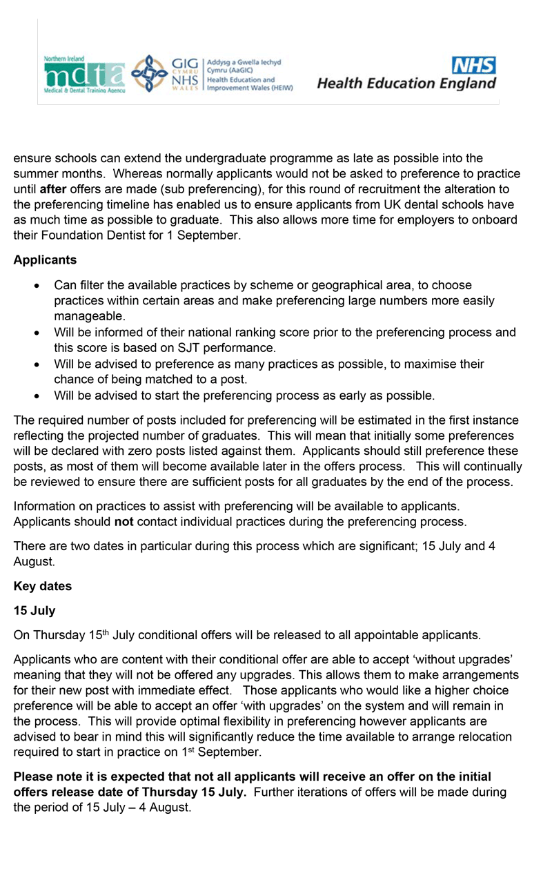 Dental Foundation Training - Joint Recruitment Statement May 2021