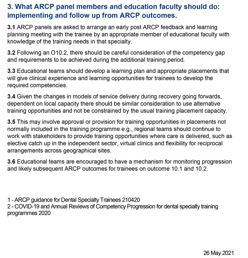 Dental Specialty ARCP Updates