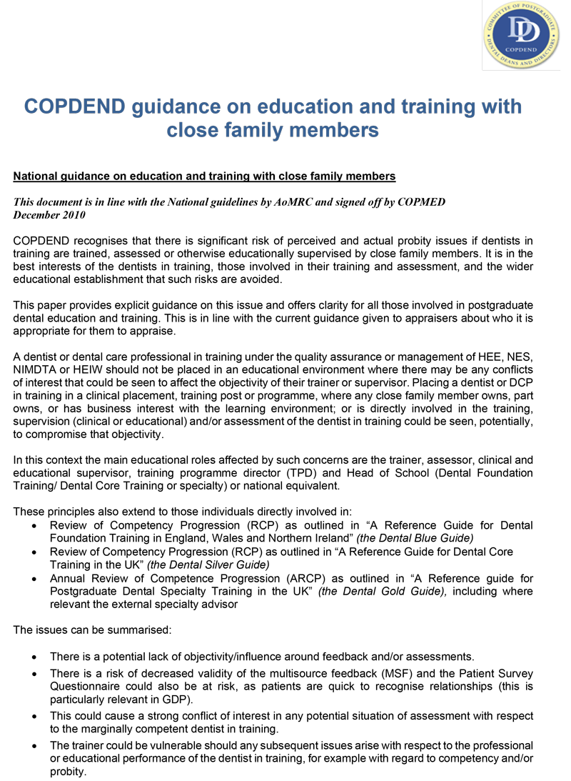 Copdend guidance on education and training with close family member